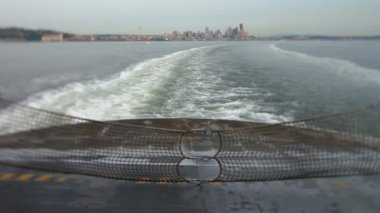 Seattle Ferry Ride with cityscape — Stock Video
