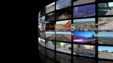 Flying around circular video wall — Stockvideo