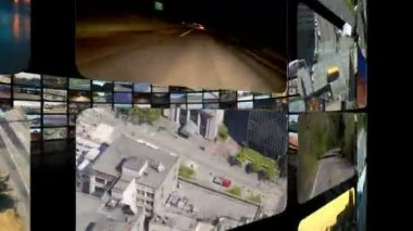 Flying around circular video wall — Stock Video