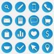 Blue SEO Business Vector Icons Set with Magnifier, Pen, Mobile Phone, Handset, Mail, Document, Speech Bubble, Trolley Basket, Package, Compare Graph, Heart, Dollar Symbol, Tea Cup, Arrow and Pin Marke — Stock Vector #47272209