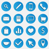 Blue SEO Business Vector Icons Set with Magnifier, Pen, Mobile Phone, Handset, Mail, Document, Speech Bubble, Trolley Basket, Package, Compare Graph, Heart, Dollar Symbol, Tea Cup, Arrow and Pin Marke — Stock Vector