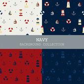 Colección de fondo marino, de patrones sin fisuras — Vector de stock
