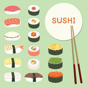 Delicious Sushi Set ,food icons ,Japanese food — Stock Vector