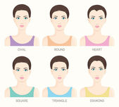 Set of woman face shapes — Stock Vector