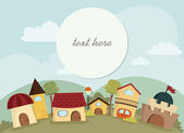 Happy Village Background with text frame — Stok Vektör