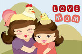 Cute Card Mother's day Vector — 图库矢量图片