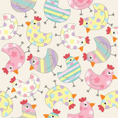 Cute Chicken background seamless pattern — Stock Vector
