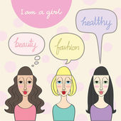 A girl lifestyle, with speech bubble — Stockvector