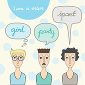 A man lifestyle, with speech bubble — Stockvector