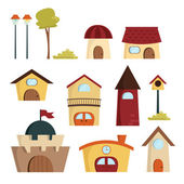 Cute Building Vector, Town — Stock Vector