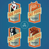 PET FOOD VERTICAL LABELS — Stock Vector