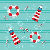 Fenerler lifebuoy bayrakları sorunsuz — Stok Vektör