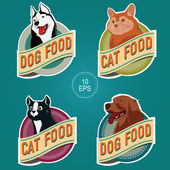 PET FOOD ROUND LABELS — Stock Vector