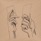 Vector sketch hands — Stock Vector