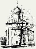 Church and a tree — Vecteur