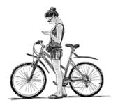 Girl with a bike — Stock Vector