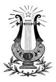 竪琴のスケッチ — ストックベクタ