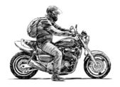Man on a motorcycle — Stock Vector