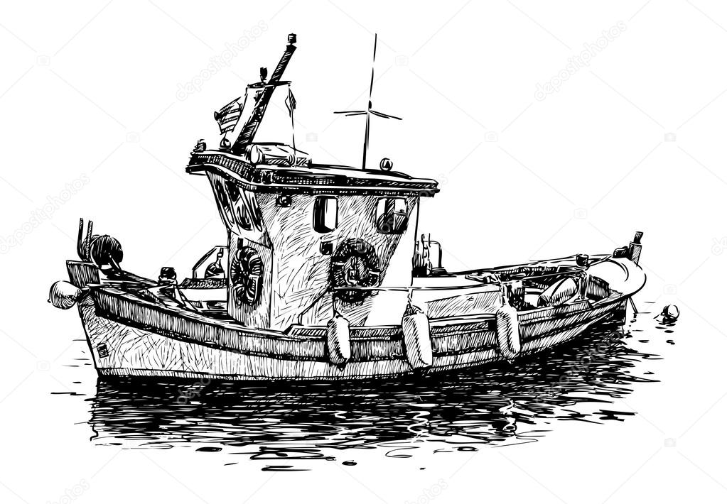 Fishing boat drawing