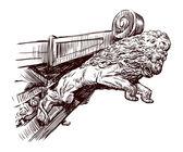 Rostrum sculpture of a lion — Stock Vector