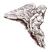 Rostrum sculpture of an angel — Stock Vector
