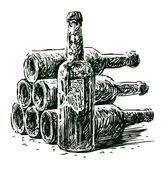 Wine bottles — Stock Vector
