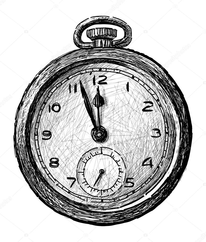 Antiguo reloj de bolsillo \u2013 Ilustración de stock