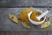 Indian spices on grunge background — Stock Photo