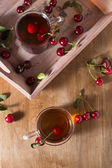 Fruit tea with cherry — ストック写真