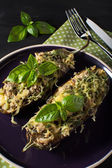 Baked eggplant with basil and cheese — Stock Photo