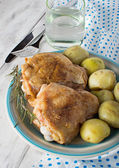Baked chicken on the plate — Stock Photo