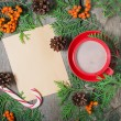 Christmas card with cup of cocoa, fir tree, pinecones and rowan — Stock Photo #51512197