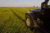 Jeep Wrangler in the field, Novgorod region ,Russia — Stock Photo