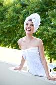 Laughing young woman after bathing — Stok fotoğraf