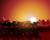 Horse silhouette on sunset background. — Vector de stock
