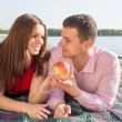 Happy young couple enjoying picnic on the beach and have good time on summer vacations — Stock Photo #47372497
