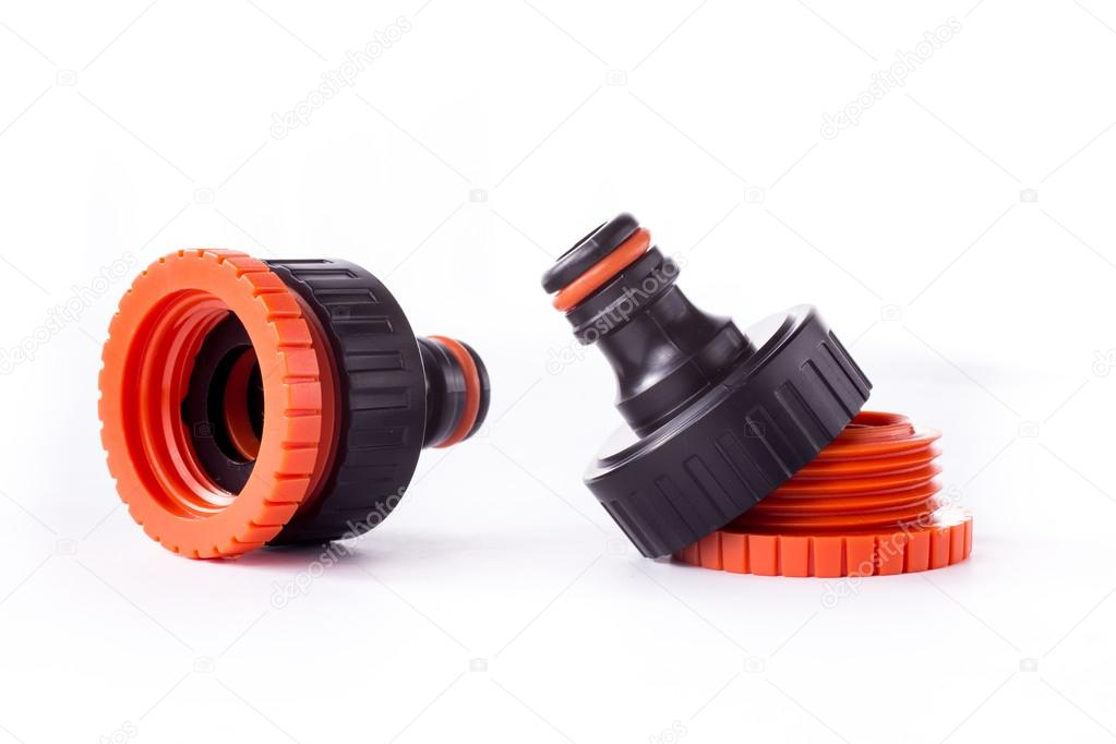 Orange adapter for connection of a garden hose with watering