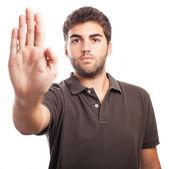 Man doing stop gesture — Stock Photo