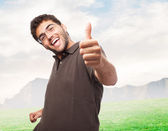 Man doing positive gesture — Stock Photo