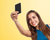Girl taking selfie photo — Stockfoto