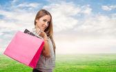 Femme portefeuille sacs à provisions — Photo