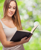 Woman reading book — Foto Stock