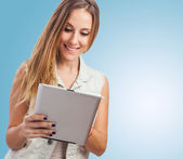 Woman using tablet — Stock Photo