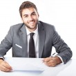 Businessman singing contract — Stock Photo #47378057