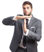Business man doing break symbol — Stock Photo