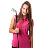 žena hospodářství golf club — Stock fotografie