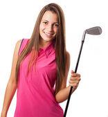 Club de golf holding mujer — Foto de Stock