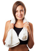 Mujer con toalla — Foto de Stock