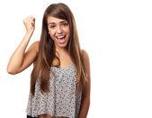 žena, která dělá gesto vítězství — Stock fotografie