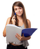 Woman holding notebook — Stock Photo